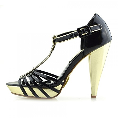 Kick Footwear Donna Tacchi A Spillo Di Nozze , Festa Strappy Caviglia Scarpe  Nero