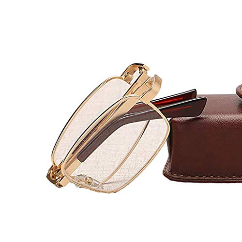 Das Ende der Wüste Tragbare Faltbare Mini-Lesebrille, HD-Brillenglas-Augenschutzbrille mit Metallrahmen, geeignet zum Lesen von Zeitungen, Lesen, Spielen von Handys, Fernsehen usw. (Edition : +2.50)