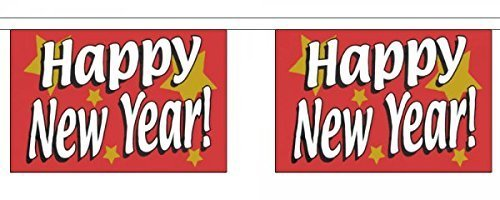 JOYEUX NOUVEL AN fête rouge Horizontal polyester Banderole DRAPEAUX 3M (10') BRUANT avec 10 DRAPEAUX