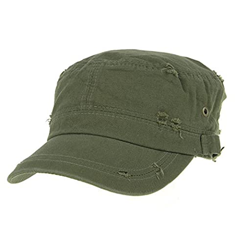 WITHMOONS Militaire Casquette de Baseball Cadet Cap Cotton Vintage Distressed Washed Hat AC4426 (Green)