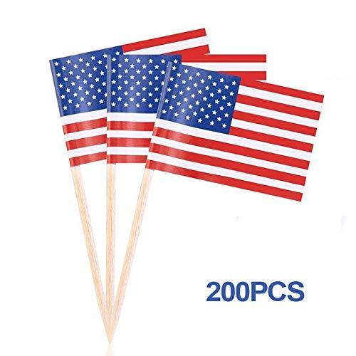 Happyshop 18 100 Stück Mini-amerikanische Flaggen handgehalten, kleine amerikanische Flaggen auf Stick für Cupcake-Topper, Picks und American Independence Day