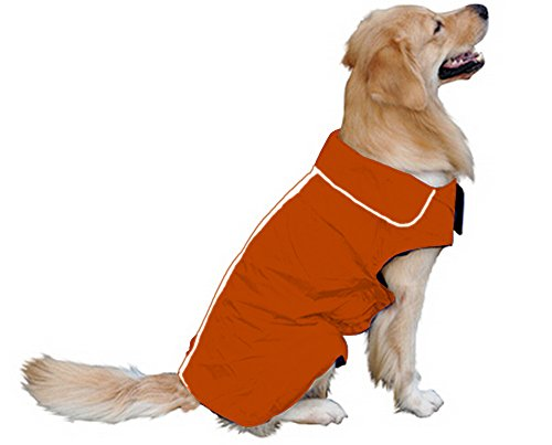 Hundemantel Regenmantel Hund Hundebekleidung Hundejacke Wintermantel Regenjacke-Orange (L)