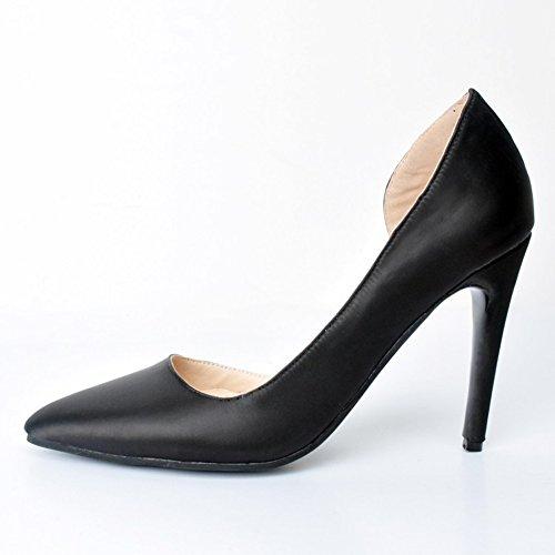 Kolnoo Damen Faschion Faux Leder-hohe Absätze Korsett Art Pumpen Gericht Partei Pumpen Schuhe Black