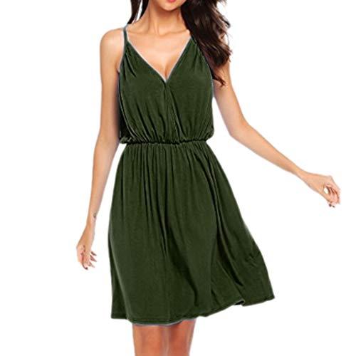 EUZeo Damen Sommerkleid Elegant Ärmellos V-Ausschnitt Chiffon Casual Strandkleid Minikleid Spaghetti Strap Streetwear