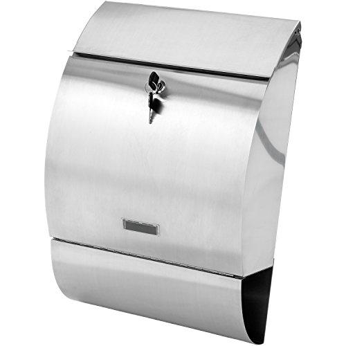 STILISTA Hochwertiger V2A Edelstahl Wandbriefkasten mit Zeitungsfach, unterschiedliche Designs, Schwere Qualität (3-4 kg) - 40100002