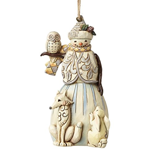Enesco White Woodland Snowman (Hanging Ornament) - Woodland Tiere Schal