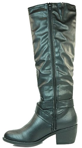 Femme Bottes Manfield/Dolcis Marron Noir Taupe Bordeaux brun clair Manfield Riding Boot Black