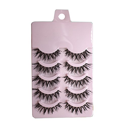 Xuanhemen Fake Eyelashes Cross Messy 3D Fibre pour Natural Seeable Reusable (5 Pairs)