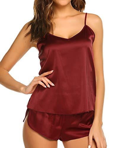 Skine Damen Schlafanzüge Satin Kurz Sexy Wäsche Nachtwäsche Solid Pyjamas Sets Chemises Cami Top & Shorts Verstellbarer Träger 2 Stück (Frau Shorts)