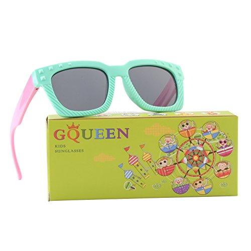 GQUEEN Gummi Flexible Kinder Rechteckige Polarisierte Sonnenbrille für Jungen Mädchen Baby und...