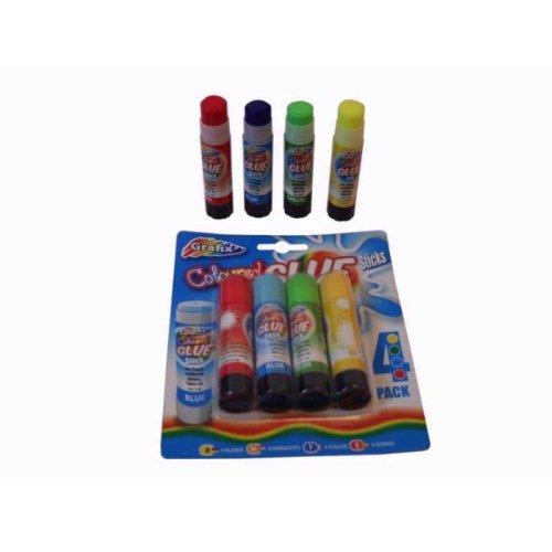 Farbige Kinder Klebestifte - Packung mit 4 Farben - von Grafix