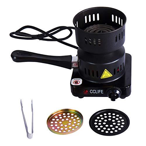 CCLIFE Hornillo eléctrico cachimba carbón Shisha Encendedor eléctrico cachimba shisha, Color:Negro
