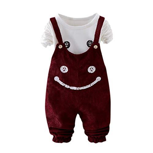 LEXUPE Kleinkind Kinder Baby Mädchen niedlichen Cartoon T Shirt Overalls Hosenträger Hosen Outfits Set(Wein,80)