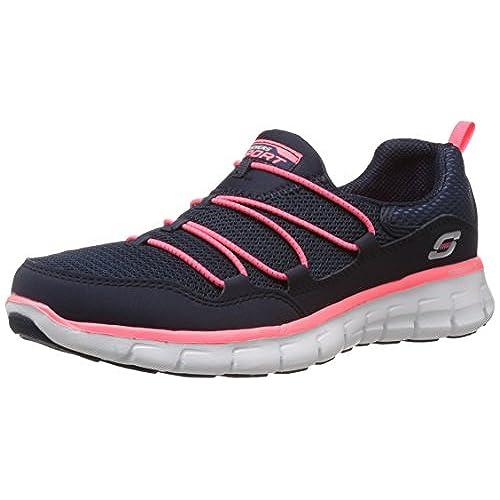 Skechers Synergy Loving Life, Women Fitness Shoes, Blue (Navy/Coral), 5 UK  (38 EU)