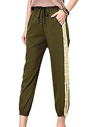 Guiran Pantalón Fluido para Mujer Pantalones Ajustados con Cordón Pantalón  De Lino Estilo Capri ... 7fdc258ce348