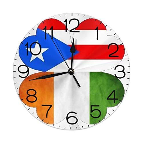 Uosliks Clover Flag of Irish and Puerto Rico Round Wall Clock Battery Operated Silent Non Ticking Irish Crystal Clock