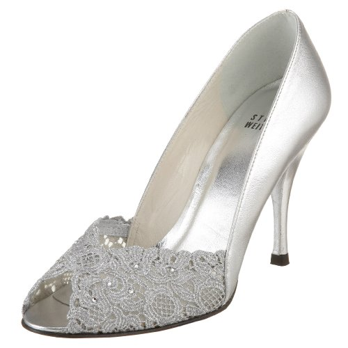 Stuart Weitzman Women's Chantelle Dress Pump, Aluminum, 9 N US Stuart Weitzman Bridal Shoes