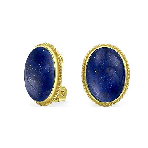 7 Ct Oval Blau Lapis Edelstein Seil Einstellung 14K Vergoldet Sterling Silber Ohrclips Ohrringe Clip Ist Legierung