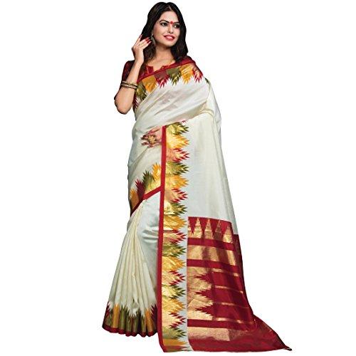 Craftsvilla Women's Patola Silk Plain and Solid Cream Saree with blouse piece