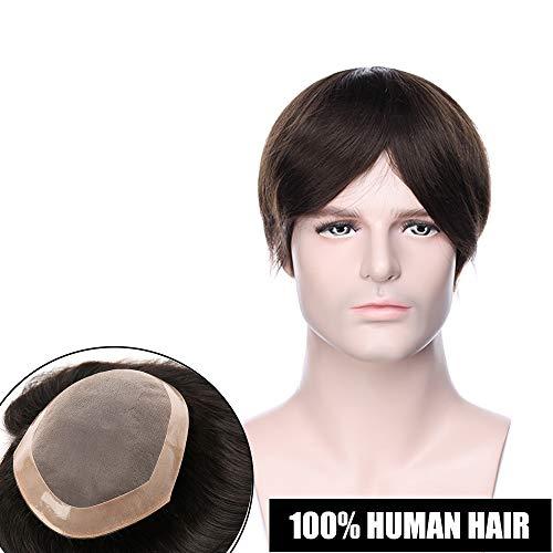Toupee uomo capelli veri extension parrucca corta umani hair topper base mono lace mix npu 15cm*20cm toupet 100% indian human hair lisci 120% density 15cm pesa 50g - #2 marrone scuro