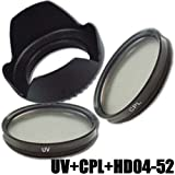 Kit Filtre DynaSun Polarisant Circulaire CPL 52mm C-PL + UV Ultra Violet Objectif 52...