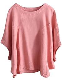 DOGZI Ropa Sólido Camisetas Mujer Camisas Mujer Verano Elegantes Casual Tallas Grandes Estampado Floral Camisetas Mujer Manga Corta Camiseta Blusas Tops para Mujer Fiesta en la Playa