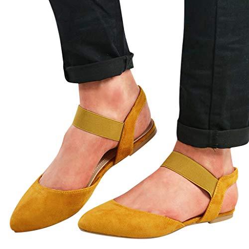 Mujer Sandalias De Vestir, 2019 Zapato Plano con Cinta Elástica Zapatillas Ante Punta Pointed Mocasines...