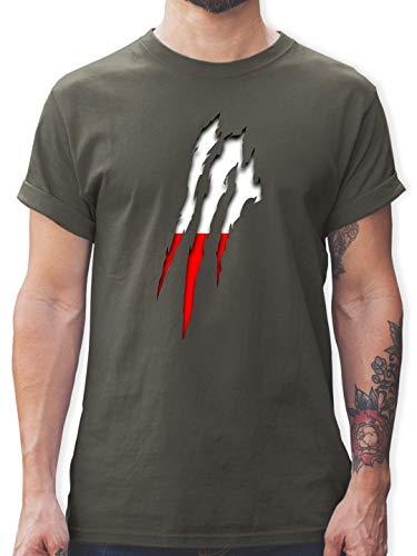Länder - Polen Krallenspuren - XL - Dunkelgrau - L190 - Herren T-Shirt und Männer Tshirt