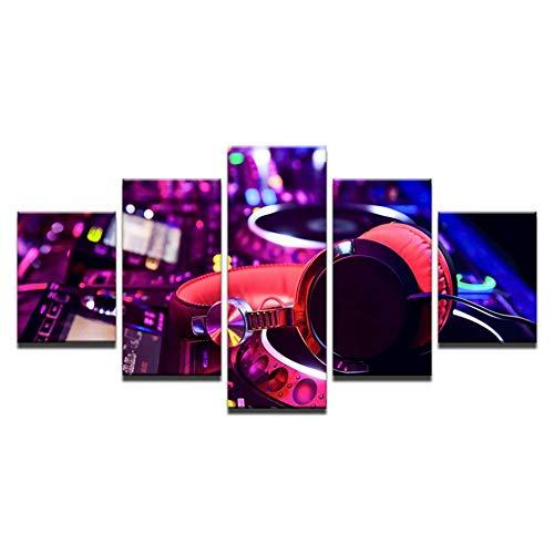 QAZWSY Wohnkultur 5 Stücke DJ Musikinstrument Mixer Und Kopfhörer Bilder Bar Poster Nachtclub Wandkunst (Dj-mixer Kopfhörer)