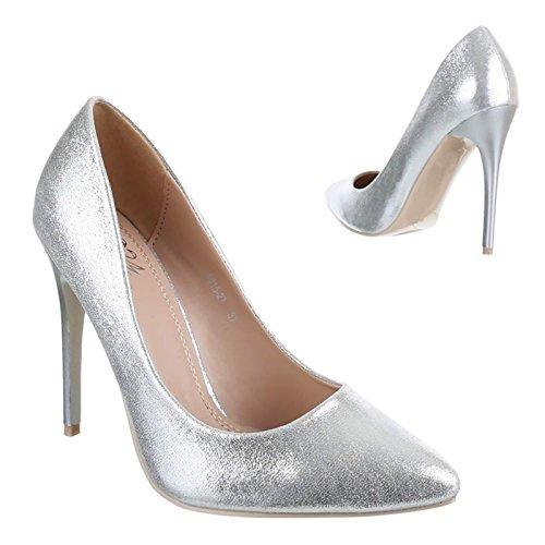 Sapatos De Senhoras Plataforma Prata Alto 5015 Bombas Apontou Pintam Salto De Stilettos XwAqX4