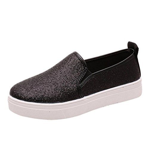 Malloom® Frau Damen Women's Spring beiläufige Flache Schuhe Slip-on Pailletten Loafer Schuhe (36, Schwarz)