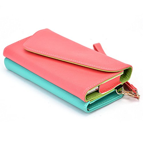 Kroo d'embrayage portefeuille avec dragonne et sangle bandoulière pour HTC One (M8) Black and Orange Rouge/vert