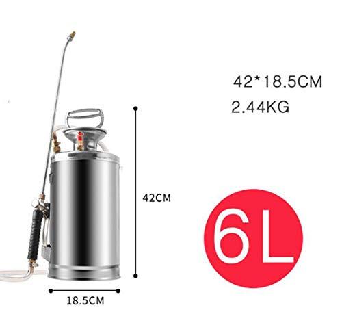 XGHW Gartensprühgerät Landwirtschaftlich Edelstahl Drucksprühgerät Bewässerungssprühflasche Multifunktionale Sanitärreinigung Gartengeräte Zubehör (Color : Silver, Size : 6L)