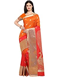 Varkala Silk Sarees Women Art Silk Paithani Saree (NYJB5004ORRD_Orange & Red_Free Size)