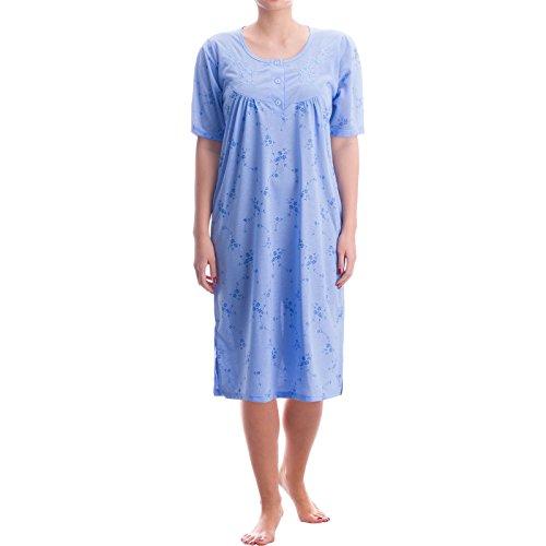 Romesa Nachthemd - hochwertige Stickerei und feminer Druck für ein romantischen Look, Größe:L;Farbe:Blau