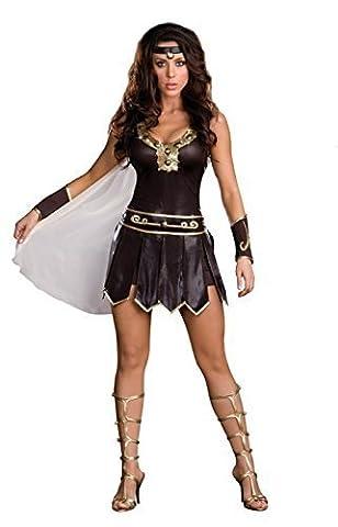 4 pièces Dames Xena Guerrier Déesse romaine Costume Robe Bandeau et Gants Taille 38