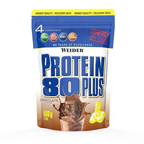 WEIDER Protein 80 Plus Eiweißpulver, Shoko, Low-Carb, Mehrkomponenten Casein Whey Mix für Proteinshakes, 500g