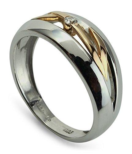 Damen Ring 585 Weißgold Rotgold bicolor 14 ct mit Brillant 0,030 ct Größe 53 R01-A0006