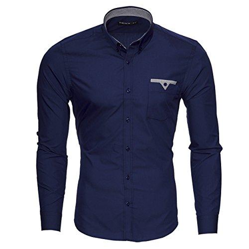 Merish Camicia Uomo, Slim Fit Camicia manica lunga, adatto per tutte le occasioni,casual e chic, Tasca sul petto, diversi Colori Taglia S - XXL Modell 208 Blu scuro