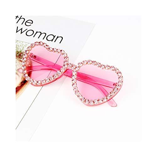 WJFDSGYG Herz Sonnenbrille Für Damen Mode Candy Pink Sonnenbrille Strass Steampunk Goggles Alloy + Resin Small Sonnenbrille