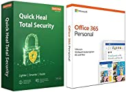 Quick Heal Total Security Latest Version - 1 PC, 1 Year (DVD)&Microsoft Office 365 Personal for 1 user (Wi