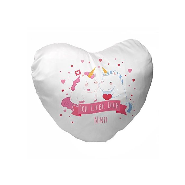 Herz-Kissen mit Namen Nina und Einhorn-Motiv mit Herz für Verliebte zum Valentinstag | Kuschelkissen | Valentinsgeschenk 1