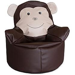 ZOLLNER® Puf para niños / puff infantil / otomana con divertido diseño de mono, relleno de perlas de poliestireno, altura 65 cm aprox, del especialista textil para hostelería