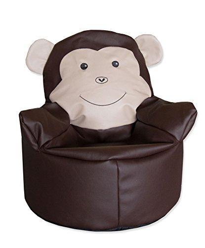 Zollner Sitzsack für Kinder, Farbe braun im Äffchendesign, Durchmesser ca. 55 cm, Styroporkügelchen-Füllung