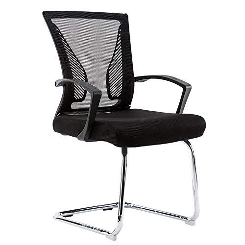 Stühle Sofas Hocker Rezeption Gast Stühle mit Armlehnen - Komfortable Mesh, ergonomische Kontur, - Moderne Cabrio Möbel für Besucher, Konferenz Gruppen Home Office Furniture-Black Rahmen - Schwarz