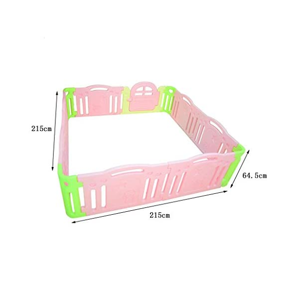 MEI XU Indoor Baby Playpens Children's Fence Guardrail Learning Walking Fence Indoor Safety Guardrail ABS Material (Size : 215 * 215 * 64.5cm) MEI XU COVERS A LARGE AREA: It is a great amount of space for baby to learn walk and even laying with baby in it for play time. EASY TO ASSEMBLE: It is lightweight, easy to put together and take down, without 15 mins. SAY NO TO ANIMAL PEN: Bright and colorful design make the fence look more lovely in order to attract children and energize their mood automatically. 2