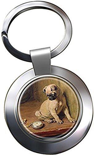 Pug (Tick Tack) by Briton Rivière Chrome Keyring