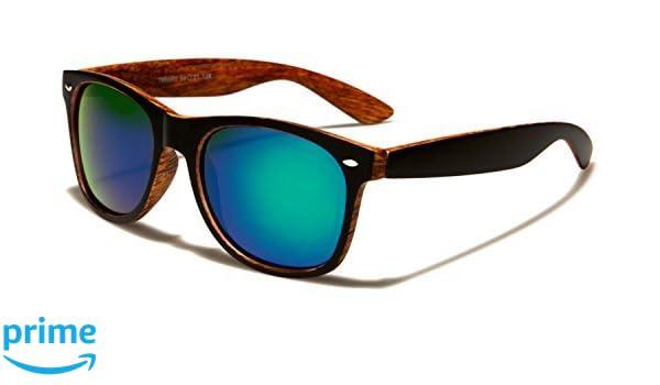 Unisex gespiegelt klassisch Sonnenbrille Holz Muster Sport Retro fahren voll UV400 Schutz gratis leuchtend Hütte Tasche inklusive - schwarz/orange Holz/schwarz Gläser 68dKoC