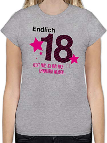 Geburtstag - Endlich 18 - S - Grau meliert - L191 - Tailliertes Tshirt für Damen und Frauen T-Shirt