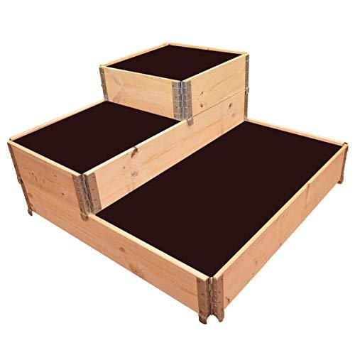 Multitanks - Carré potager en bois naturel 3 étages 1200 x 1200mm